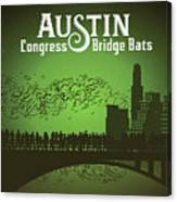 Austin Congress Bridge Bats In Green Silhouette Canvas Print
