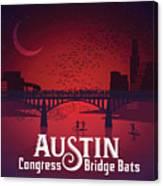 Austin Congress Bridge Bats In Red Silhouette Canvas Print
