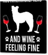 Australian Shepherd And Wine Felling Fine Dog Canvas Print