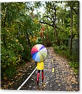 Autumn  Fall Concept - Woman Walking In Canvas Print