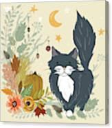 Autumn Garden Moonlit Kitty Cat Canvas Print