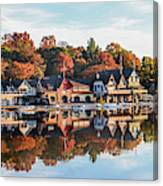 Autumn Houses On The Water Canvas Print
