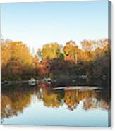 Autumn Mirror - Silky Wavelets Caused By Ducks Canvas Print