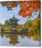 Autumn Of Gyeongbokgung Palace In Seoul Canvas Print