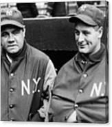 Babe Ruth Lou Gehrig 1929 Canvas Print