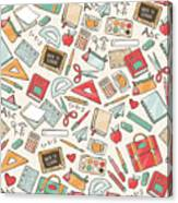 Back To School Seamless Pattern With Canvas Print