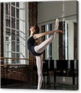 Ballerina Performing Attitude In Dance Canvas Print