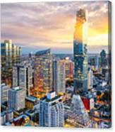 Bangkok City At Sunset, Mahanakorn Canvas Print