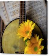 Banjo And Two Sunflowers Canvas Print