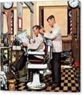 Barber Getting Haircut Canvas Print