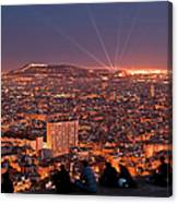 Barcelona At Night With People Canvas Print