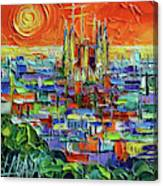 Barcelona Orange View - Sagrada Familia View From Park Guell - Abstract Palette Knife Oil Painting Canvas Print