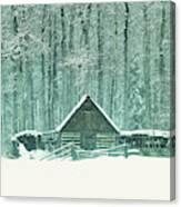 Barn In Snowfall Canvas Print