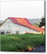 Barn With Red Roof Canvas Print