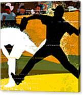 Baseball Pitcher Throwing Baseball Canvas Print