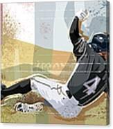 Baseball Player Sliding Into Base Canvas Print