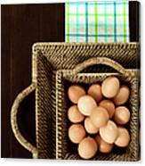Basket Of Brown Eggs Canvas Print