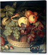 Basket Of Fruit And Admiral Butterfly Canvas Print