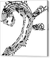 Bass Clef Made Of Music Notes Canvas Print