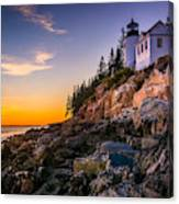 Bass Harbor Lighthouse At Sunset, In Canvas Print