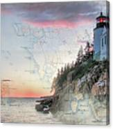 Bass Harbor Lighthouse On A Chart Canvas Print