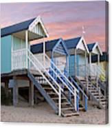 Beach Huts Sunset Canvas Print
