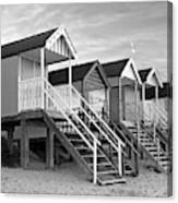 Beach Huts Sunset In Black And White Canvas Print