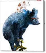 Bear And Dog Circus Show Illustration Canvas Print