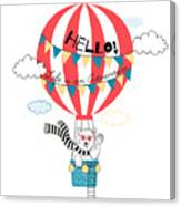 Bear Flying In Air Balloon, Animal Canvas Print