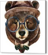 Bear Head Watercolor Canvas Print