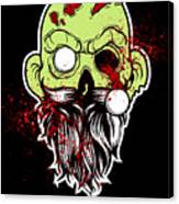 Bearded Zombie Undead With Beard Halloween Party Dark Canvas Print