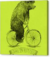 Bears On Bicycles - Lime Canvas Print