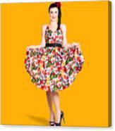 Beautiful Dancing Woman In Retro Red Dress Canvas Print