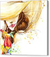 Beautiful Young Woman With Fruit Canvas Print