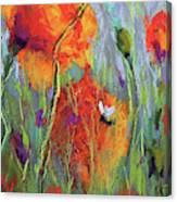 Bees And Poppies Canvas Print