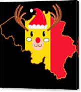 Belgium Christmas Hat Antler Red Nose Reindeer Canvas Print