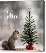 Believe Christmas Tree Squirrel Square Canvas Print