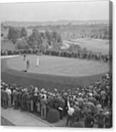Ben Hogan Putting As Others Watch Canvas Print