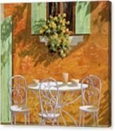 Bianco Su Giallo Canvas Print