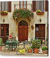 Bicycle In Front Of Small Cafe, Tuscany Canvas Print