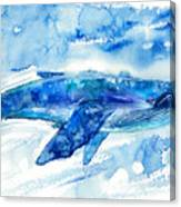 Big Blue Whale And Water.watercolor Canvas Print