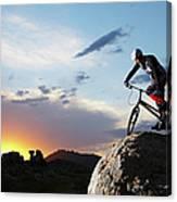 Bike Rider Balancing On Rock Boulder Canvas Print