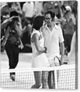 Billie Jean King And Bobby Riggs At End Canvas Print