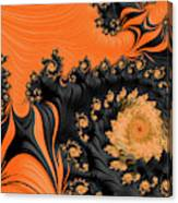 Black And Orange  Swirls Canvas Print
