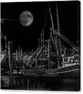 Black And White Art Fishing Boat And Full Moon Canvas Print