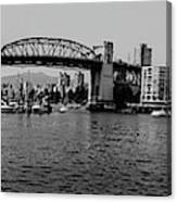 black and white panorama of Vancouver from plaza of nations showing the beautiful city Canvas Print