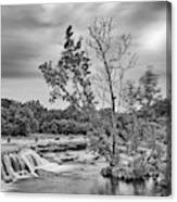 Black And White Photograph Of Link Falls At Bull Creek District Park Greenbelt - Austin Texas Canvas Print