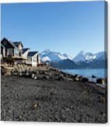 Black Sand Beach In Seward Alaska Canvas Print