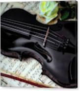 Black Violin On Sheet Music Canvas Print