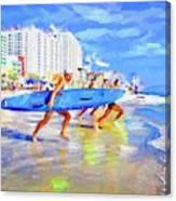 Blue Board Fast Into Ocean Canvas Print